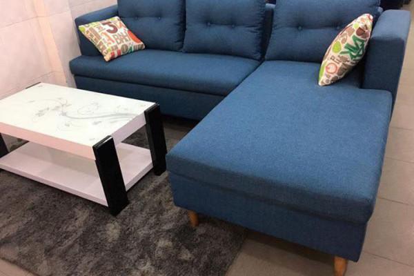 Ghế sofa góc đơn giản màu xanh dương tuyệt đẹp