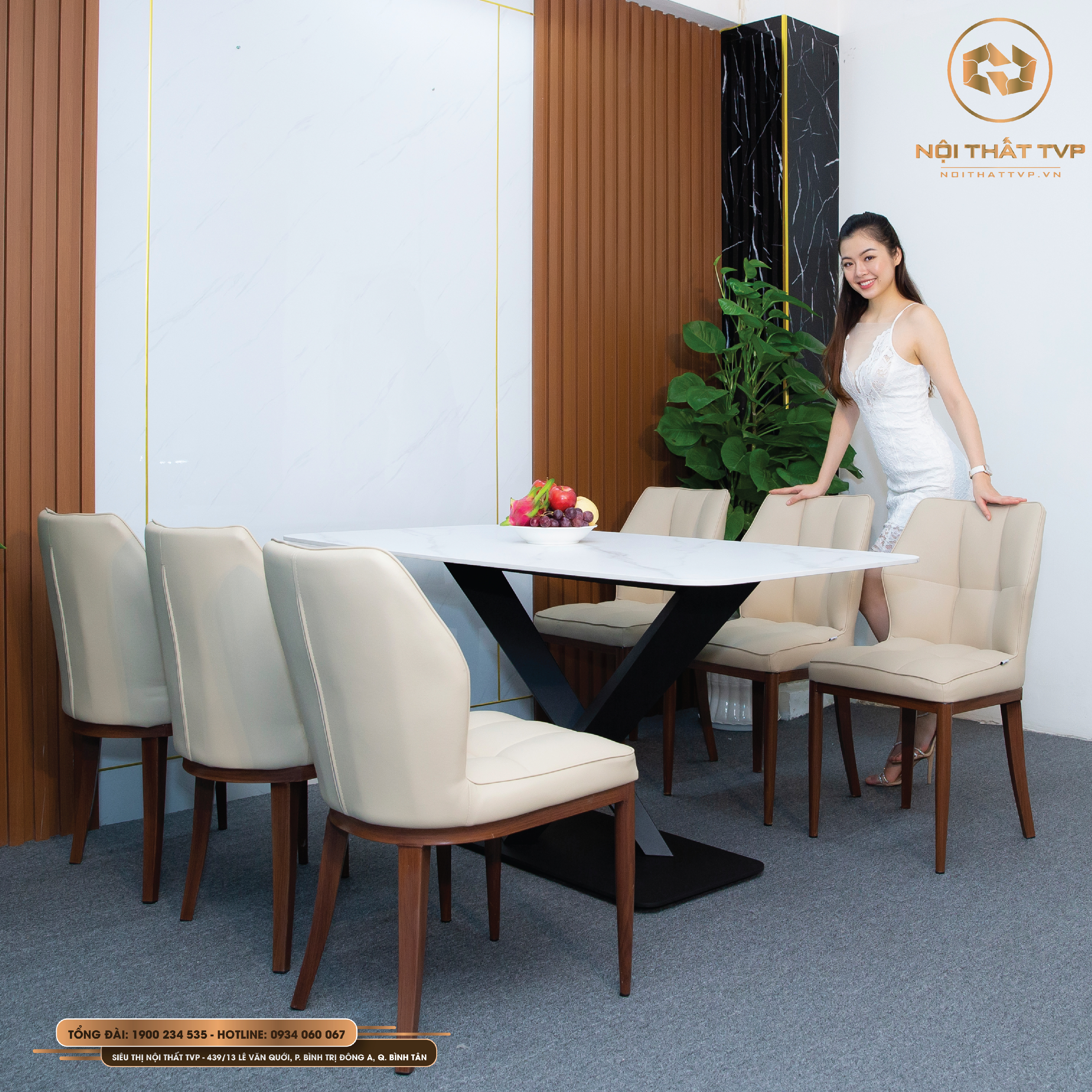 Bộ bàn ăn 6 ghế nhập khẩu hiện đại