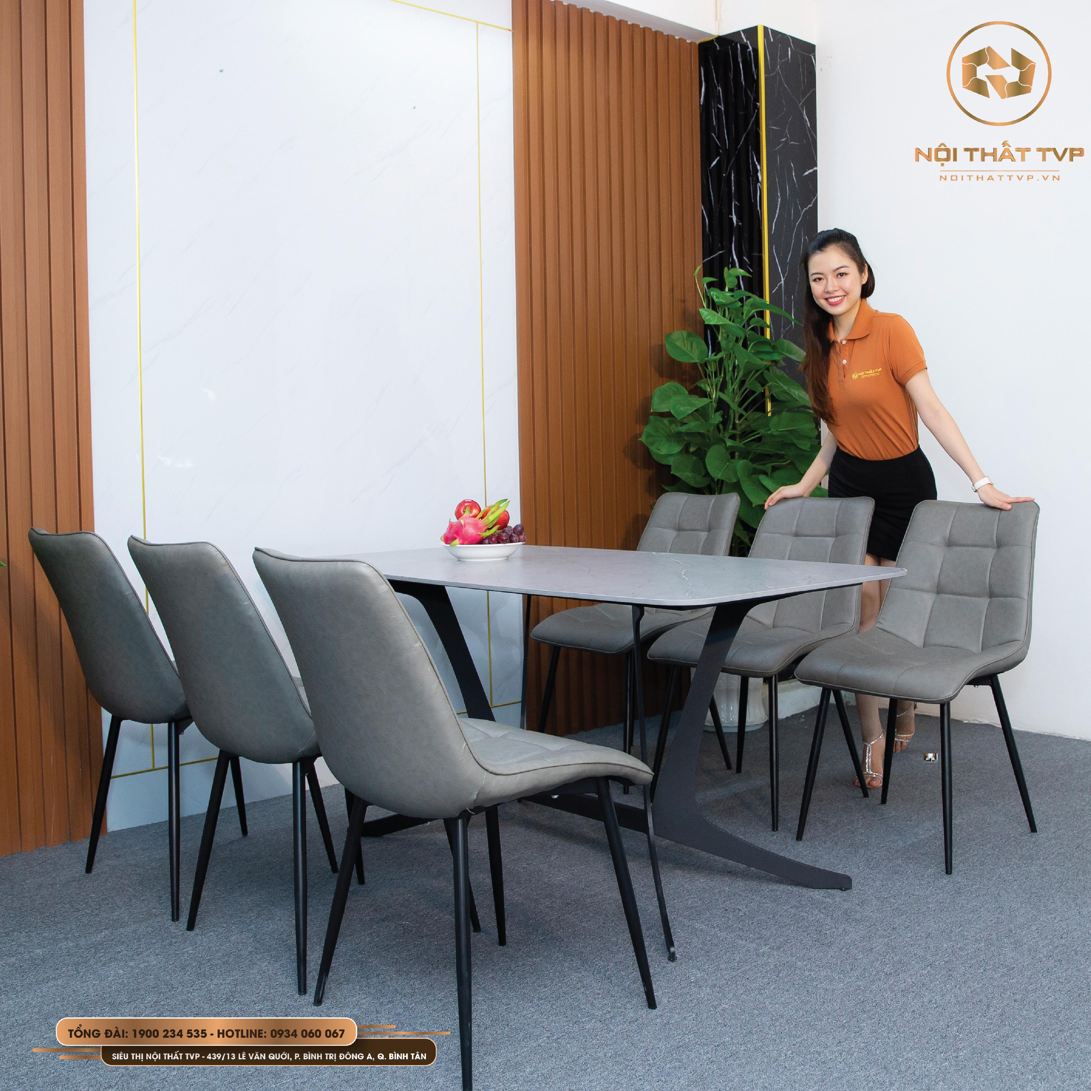 bàn ghế ăn nhập khẩu 6 ghế hiện đại